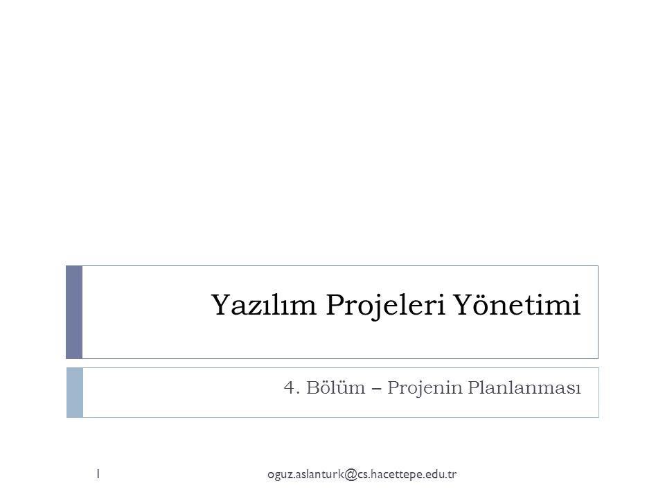 Yazılım Projeleri Yönetimi 4. Bölüm – Projenin Planlanması 1oguz.aslanturk@cs.hacettepe.edu.tr