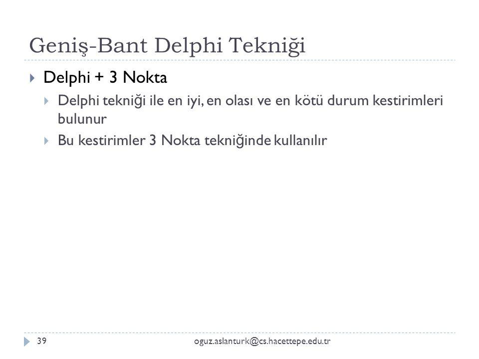 Geniş-Bant Delphi Tekniği oguz.aslanturk@cs.hacettepe.edu.tr39  Delphi + 3 Nokta  Delphi tekni ğ i ile en iyi, en olası ve en kötü durum kestirimler