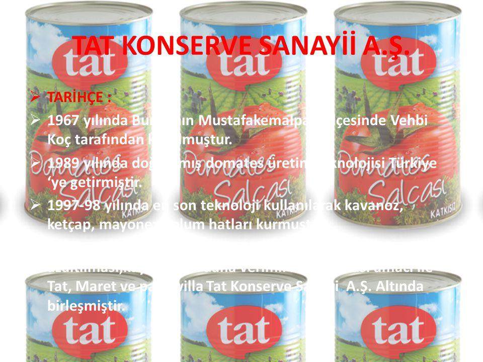 VİZYON VE MİSYON  Vizyon: Türkiye'nin lider gıda ve dağıtım şirketi olmaktır.