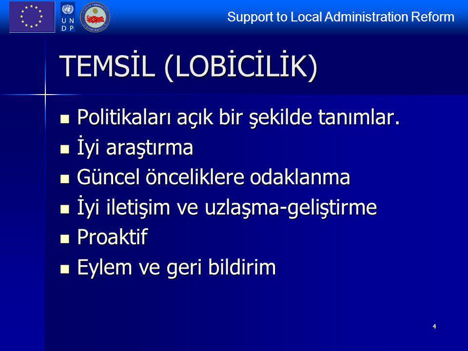 Support to Local Administration Reform 4 TEMSİL (LOBİCİLİK) Politikaları açık bir şekilde tanımlar. Politikaları açık bir şekilde tanımlar. İyi araştı