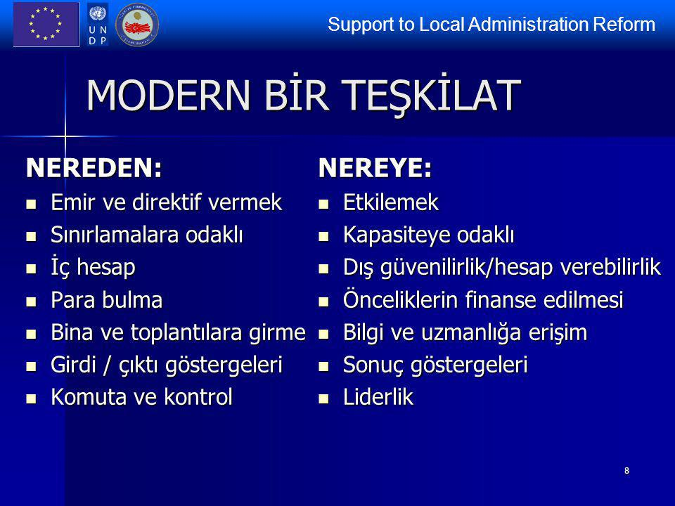Support to Local Administration Reform 8 MODERN BİR TEŞKİLAT NEREDEN: Emir ve direktif vermek Emir ve direktif vermek Sınırlamalara odaklı Sınırlamala