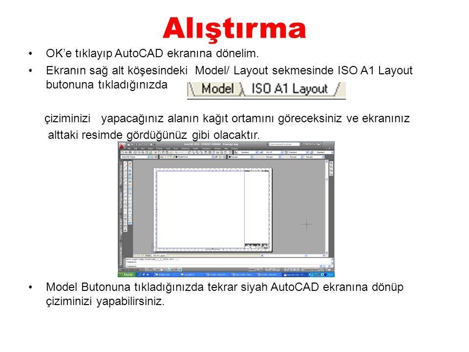 Alıştırma OK'e tıklayıp AutoCAD ekranına dönelim. Ekranın sağ alt köşesindeki Model/ Layout sekmesinde ISO A1 Layout butonuna tıkladığınızda çiziminiz