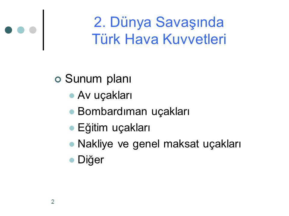 2 Sunum planı Av uçakları Bombardıman uçakları Eğitim uçakları Nakliye ve genel maksat uçakları Diğer 2.