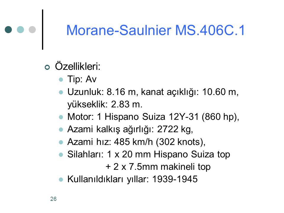 26 Özellikleri: Tip: Av Uzunluk: 8.16 m, kanat açıklığı: 10.60 m, yükseklik: 2.83 m.
