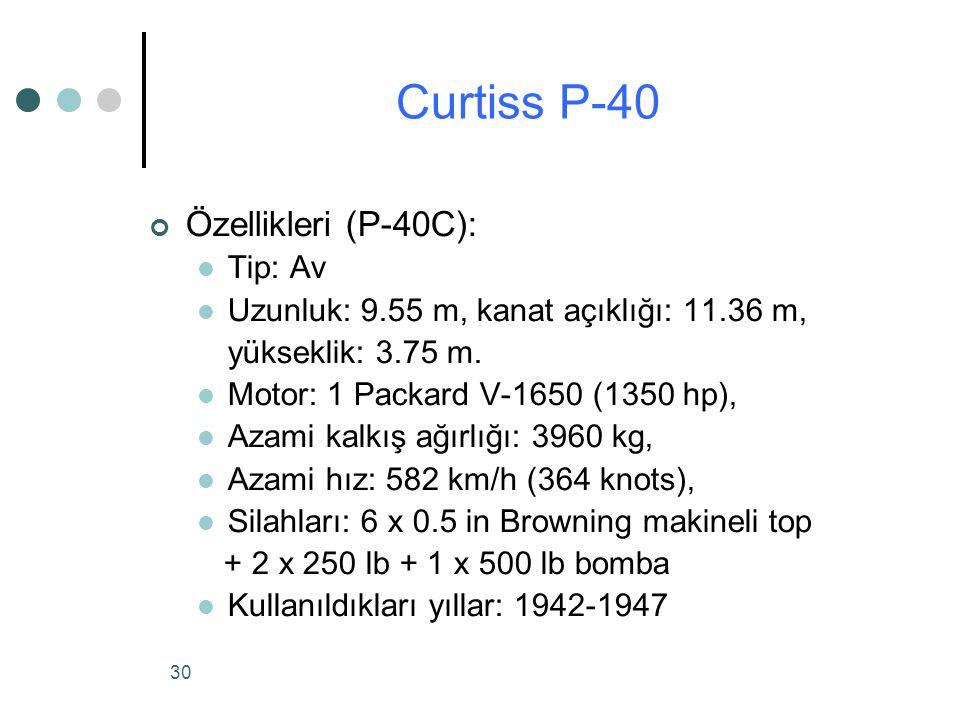 30 Özellikleri (P-40C): Tip: Av Uzunluk: 9.55 m, kanat açıklığı: 11.36 m, yükseklik: 3.75 m.