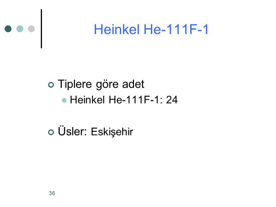 36 Tiplere göre adet Heinkel He-111F-1: 24 Üsler: Eskişehir Heinkel He-111F-1