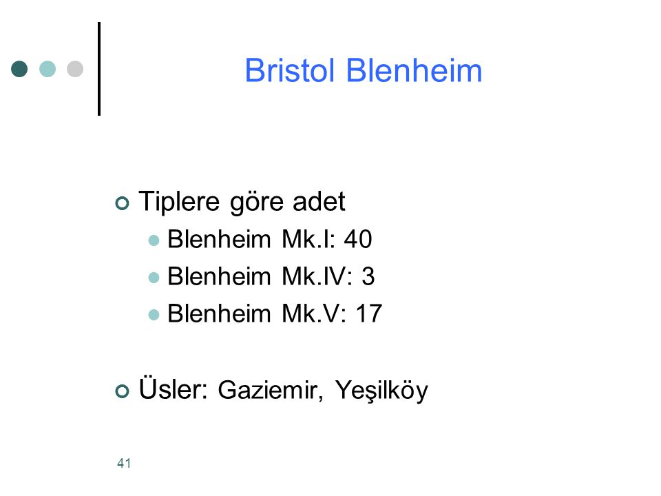 41 Tiplere göre adet Blenheim Mk.I: 40 Blenheim Mk.IV: 3 Blenheim Mk.V: 17 Üsler: Gaziemir, Yeşilköy Bristol Blenheim