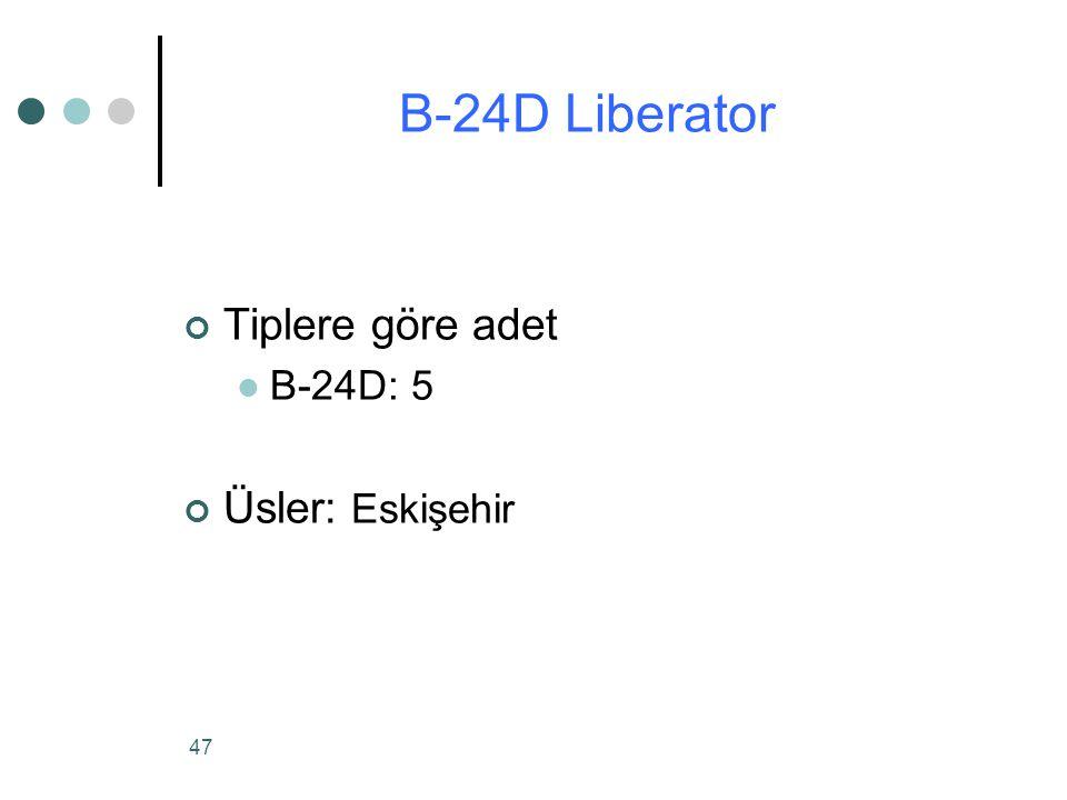 47 Tiplere göre adet B-24D: 5 Üsler: Eskişehir B-24D Liberator