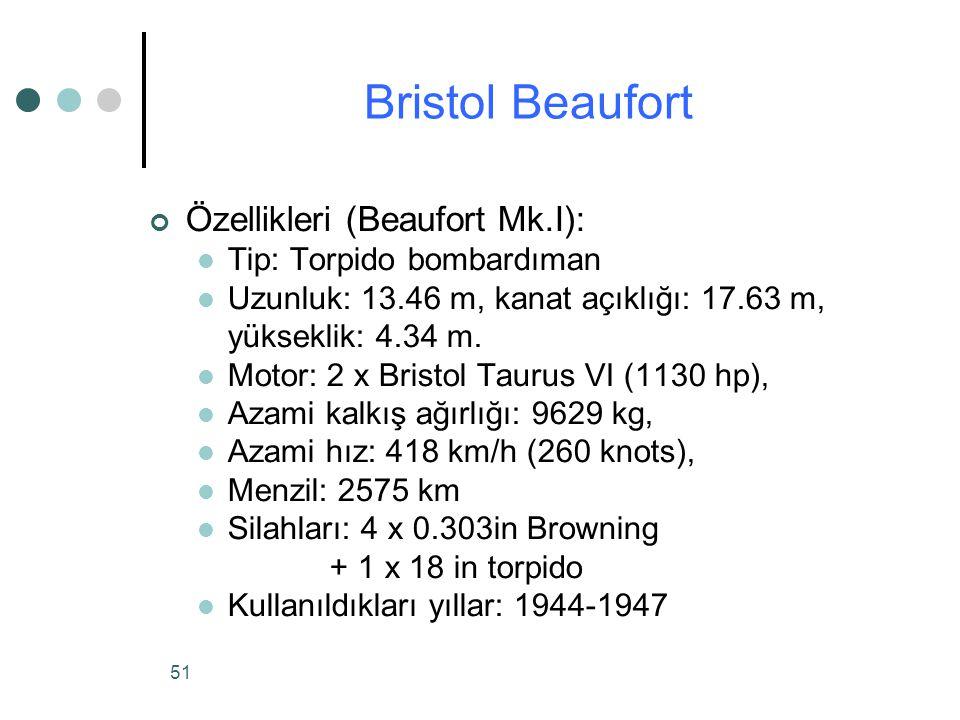 51 Özellikleri (Beaufort Mk.I): Tip: Torpido bombardıman Uzunluk: 13.46 m, kanat açıklığı: 17.63 m, yükseklik: 4.34 m.