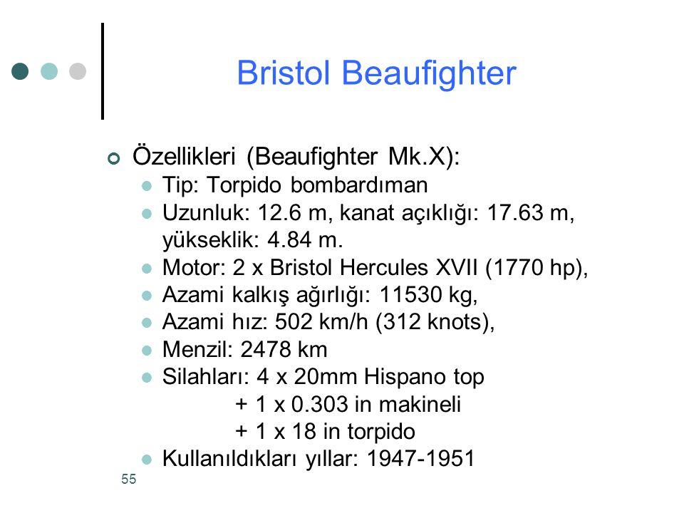 55 Özellikleri (Beaufighter Mk.X): Tip: Torpido bombardıman Uzunluk: 12.6 m, kanat açıklığı: 17.63 m, yükseklik: 4.84 m.