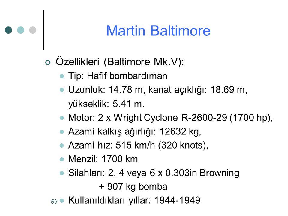 59 Özellikleri (Baltimore Mk.V): Tip: Hafif bombardıman Uzunluk: 14.78 m, kanat açıklığı: 18.69 m, yükseklik: 5.41 m.