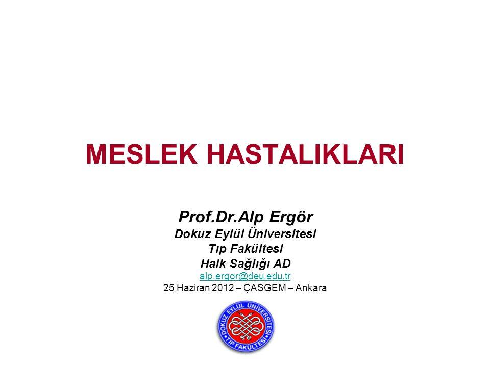 MESLEK HASTALIKLARI Prof.Dr.Alp Ergör Dokuz Eylül Üniversitesi Tıp Fakültesi Halk Sağlığı AD alp.ergor@deu.edu.tr 25 Haziran 2012 – ÇASGEM – Ankara