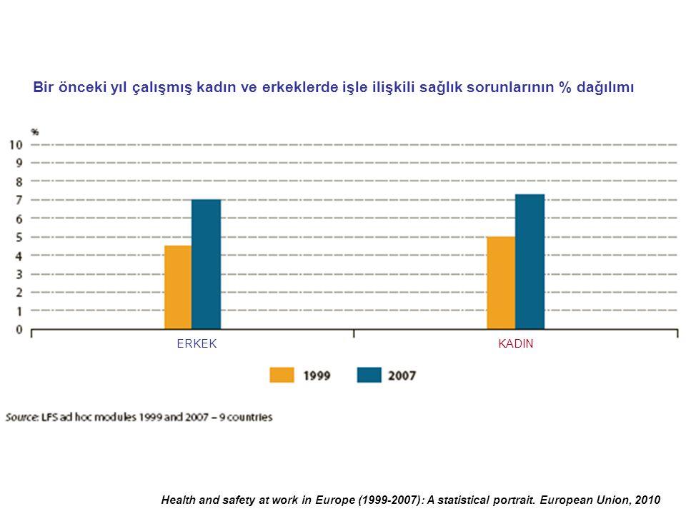 Health and safety at work in Europe (1999-2007): A statistical portrait. European Union, 2010 Bir önceki yıl çalışmış kadın ve erkeklerde işle ilişkil