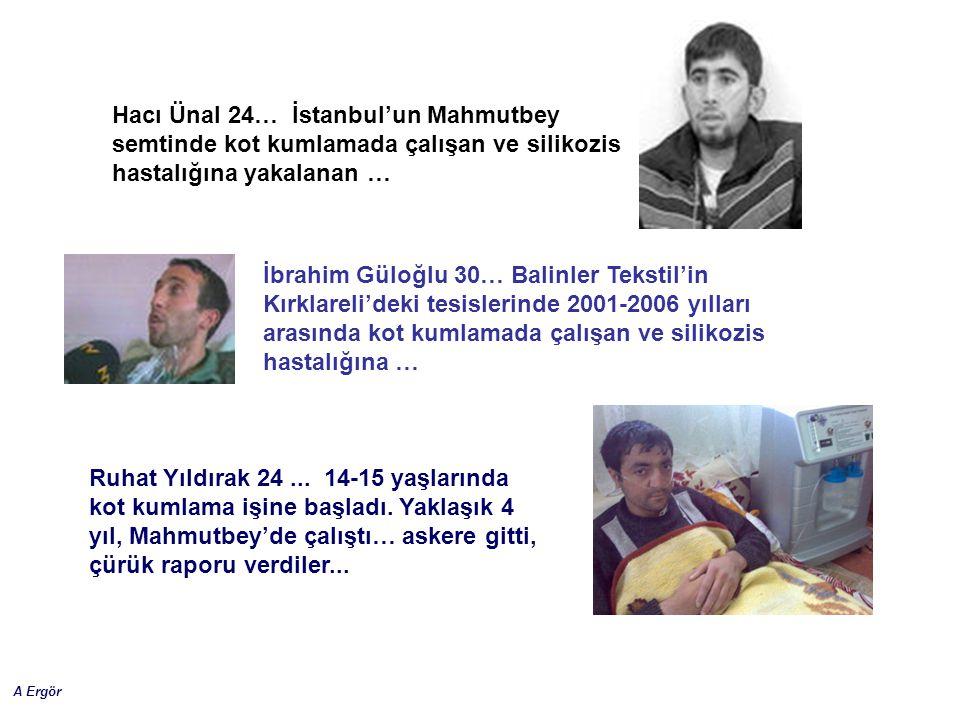 A Ergör İbrahim Güloğlu 30… Balinler Tekstil'in Kırklareli'deki tesislerinde 2001-2006 yılları arasında kot kumlamada çalışan ve silikozis hastalığına