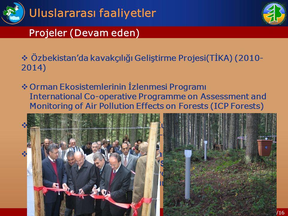 16/16 Uluslararası faaliyetler Projeler (Devam eden)  Özbekistan'da kavakçılığı Geliştirme Projesi(TİKA) (2010- 2014)  Orman Ekosistemlerinin İzlenmesi Programı International Co-operative Programme on Assessment and Monitoring of Air Pollution Effects on Forests (ICP Forests)  LULUCF - Arazi Kullanım, Arazi Kullanım Değişikliği ve Ormancılık (Land Use, Land Use-Change and Forestry)  EUFORGEN: Avrupa Gen Kaynaklarının Korunması, Meşcere Oluşturan Geniş Yapraklılar Ağı ( Stand Forming Broad Leaves Network), Avrupa ülkeleri, Türkiye (Orman Ağaçları ve Tohumları Islah Araştırma Müdürlüğü)
