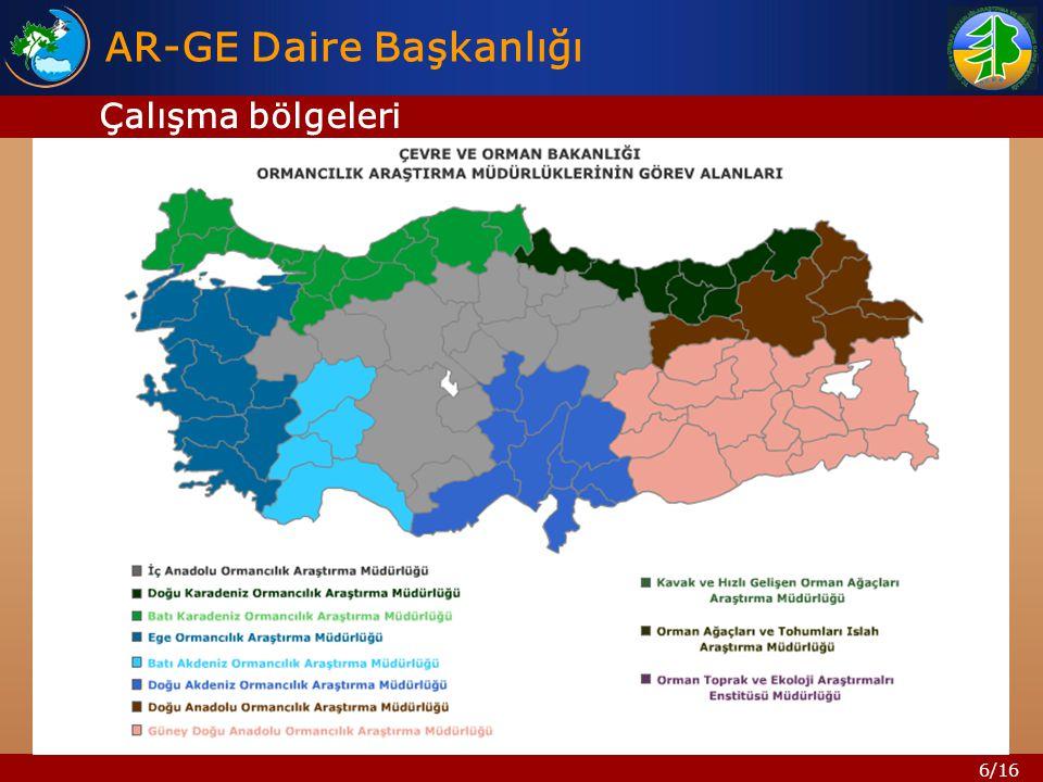 6/16 AR-GE Daire Başkanlığı Çalışma bölgeleri