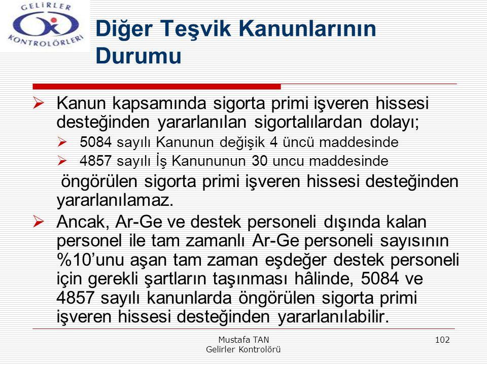 Mustafa TAN Gelirler Kontrolörü 102  Kanun kapsamında sigorta primi işveren hissesi desteğinden yararlanılan sigortalılardan dolayı;  5084 sayılı Ka