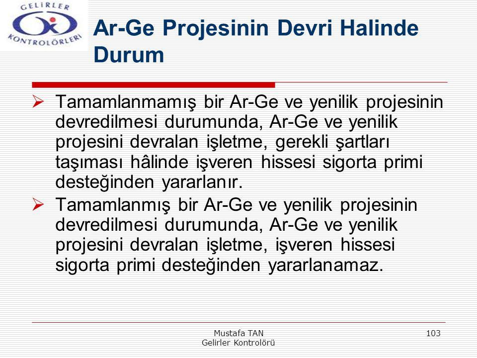 Mustafa TAN Gelirler Kontrolörü 103  Tamamlanmamış bir Ar-Ge ve yenilik projesinin devredilmesi durumunda, Ar-Ge ve yenilik projesini devralan işletm