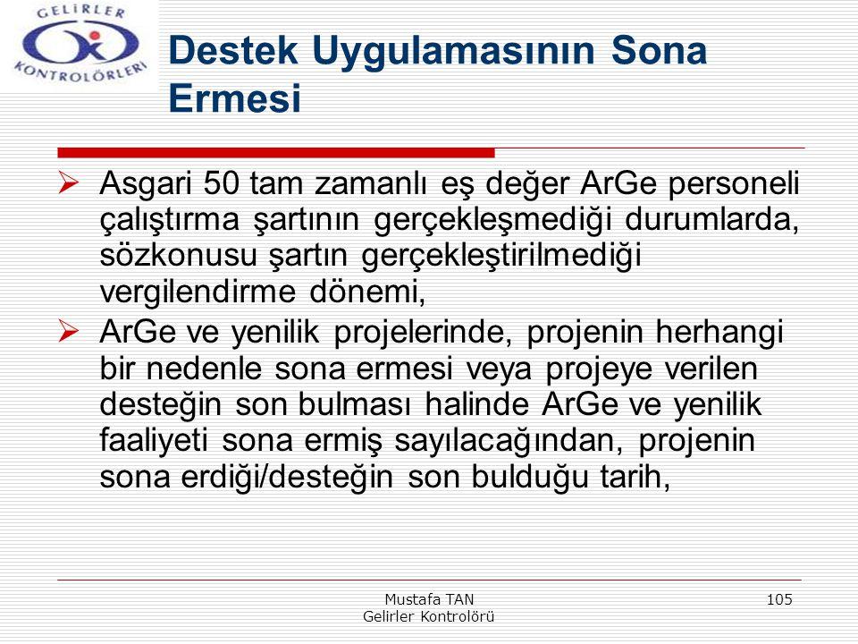 Mustafa TAN Gelirler Kontrolörü 105  Asgari 50 tam zamanlı eş değer ArGe personeli çalıştırma şartının gerçekleşmediği durumlarda, sözkonusu şartın g