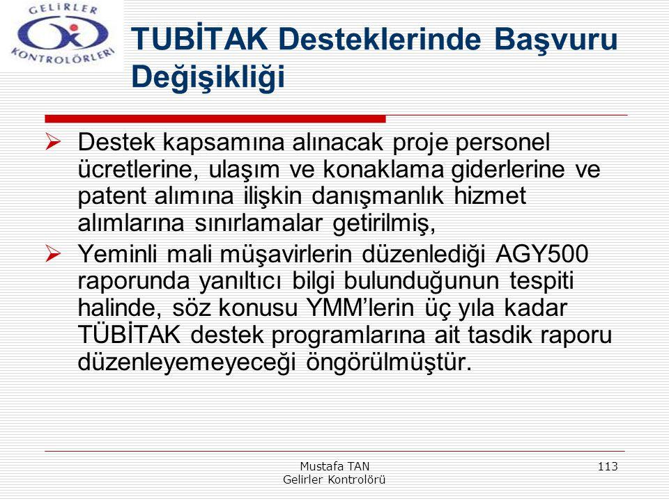 Mustafa TAN Gelirler Kontrolörü 113  Destek kapsamına alınacak proje personel ücretlerine, ulaşım ve konaklama giderlerine ve patent alımına ilişkin
