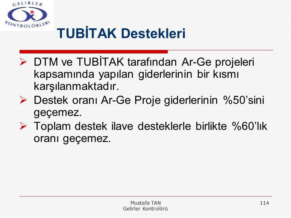 Mustafa TAN Gelirler Kontrolörü 114  DTM ve TUBİTAK tarafından Ar-Ge projeleri kapsamında yapılan giderlerinin bir kısmı karşılanmaktadır.  Destek o