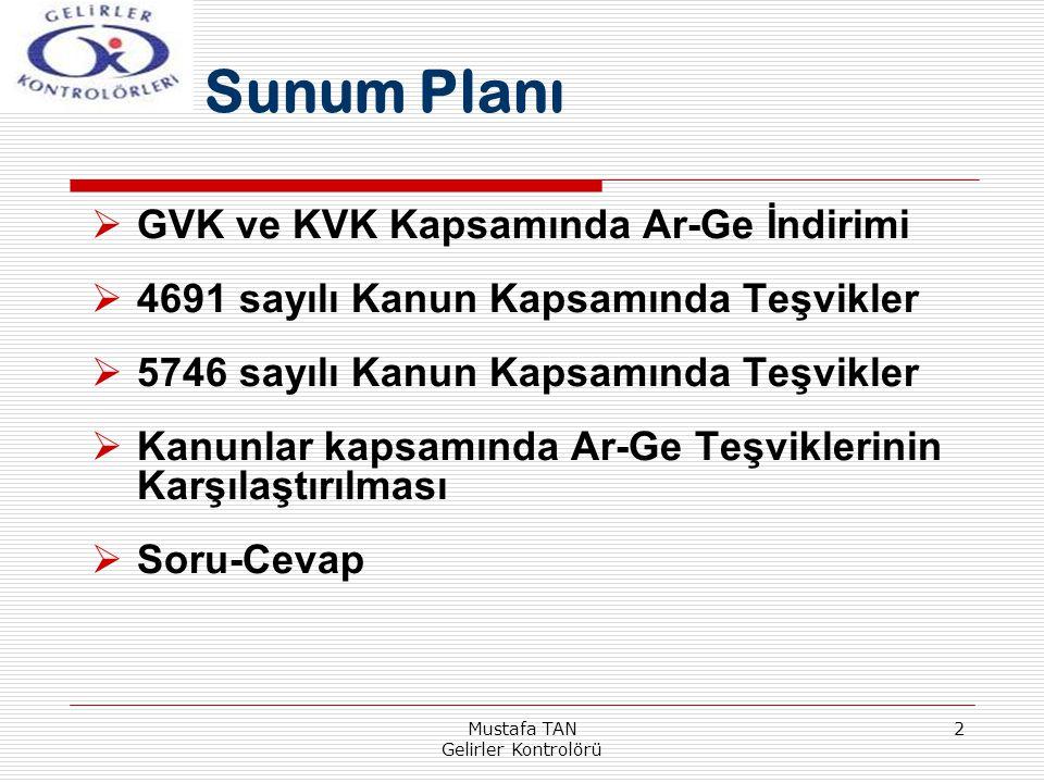 Mustafa TAN Gelirler Kontrolörü 2 Sunum Planı  GVK ve KVK Kapsamında Ar-Ge İndirimi  4691 sayılı Kanun Kapsamında Teşvikler  5746 sayılı Kanun Kaps