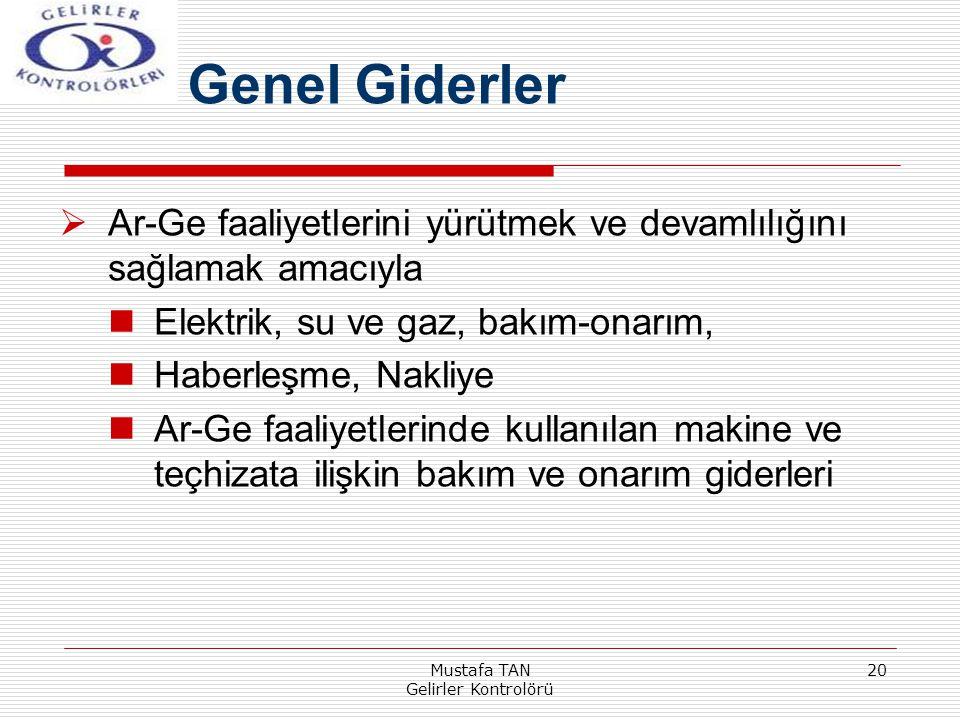 Mustafa TAN Gelirler Kontrolörü 20  Ar-Ge faaliyetlerini yürütmek ve devamlılığını sağlamak amacıyla Elektrik, su ve gaz, bakım-onarım, Haberleşme, N