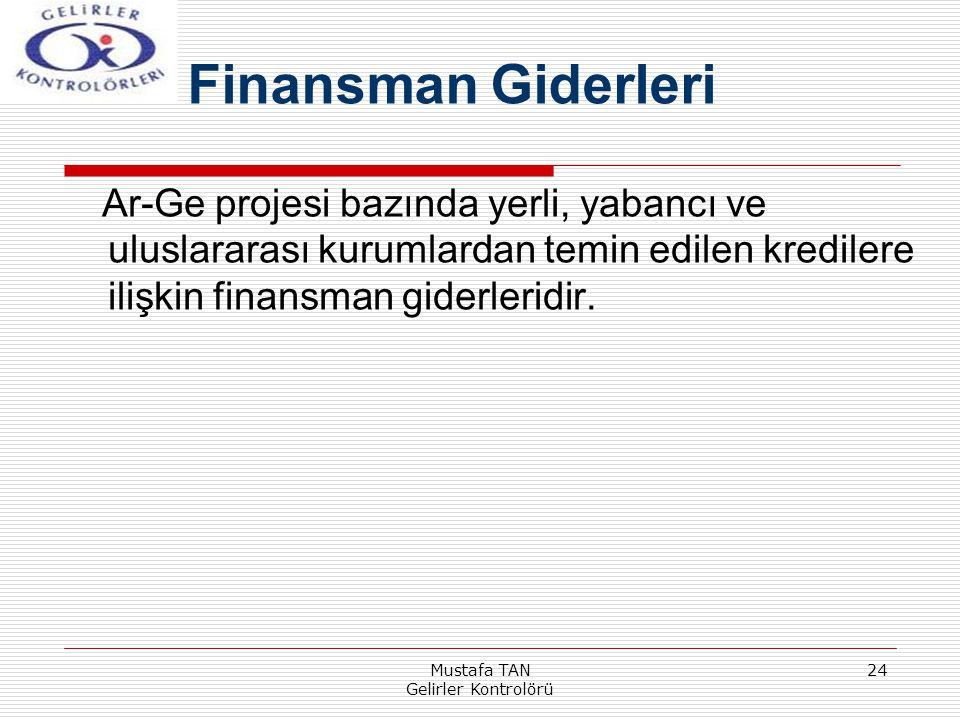 Mustafa TAN Gelirler Kontrolörü 24 Ar-Ge projesi bazında yerli, yabancı ve uluslararası kurumlardan temin edilen kredilere ilişkin finansman giderleri