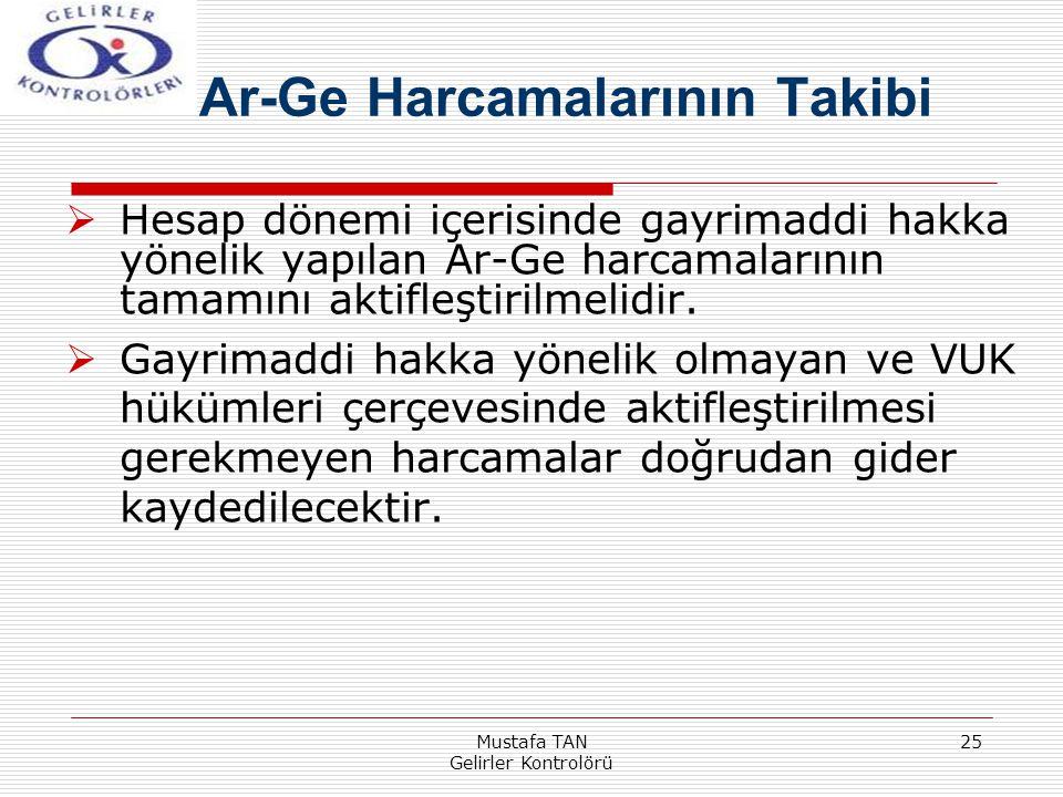Mustafa TAN Gelirler Kontrolörü 25  Hesap dönemi içerisinde gayrimaddi hakka yönelik yapılan Ar-Ge harcamalarının tamamını aktifleştirilmelidir.  Ga