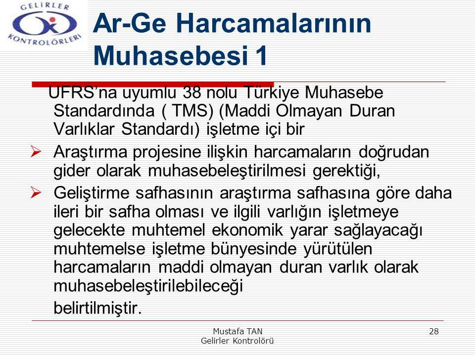 Mustafa TAN Gelirler Kontrolörü 28 UFRS'na uyumlu 38 nolu Türkiye Muhasebe Standardında ( TMS) (Maddi Olmayan Duran Varlıklar Standardı) işletme içi b