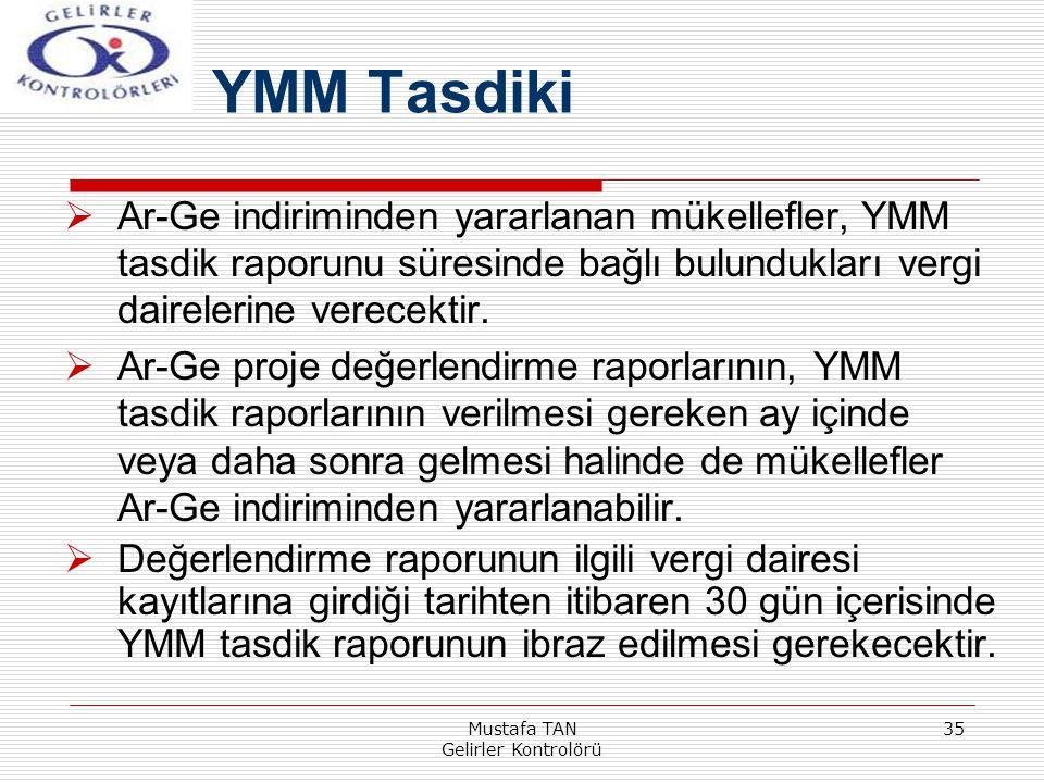 Mustafa TAN Gelirler Kontrolörü 35  Ar-Ge indiriminden yararlanan mükellefler, YMM tasdik raporunu süresinde bağlı bulundukları vergi dairelerine ver