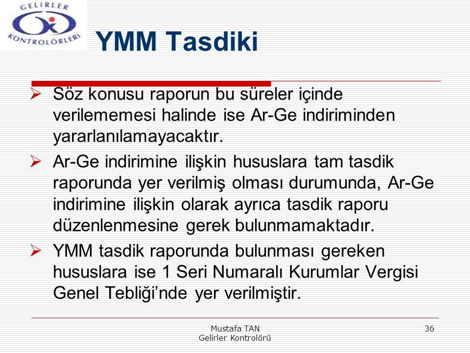 Mustafa TAN Gelirler Kontrolörü 36  Söz konusu raporun bu süreler içinde verilememesi halinde ise Ar-Ge indiriminden yararlanılamayacaktır.  Ar-Ge i
