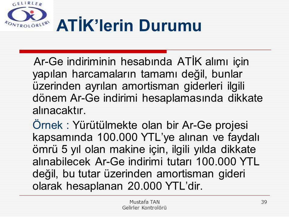 Mustafa TAN Gelirler Kontrolörü 39 Ar-Ge indiriminin hesabında ATİK alımı için yapılan harcamaların tamamı değil, bunlar üzerinden ayrılan amortisman