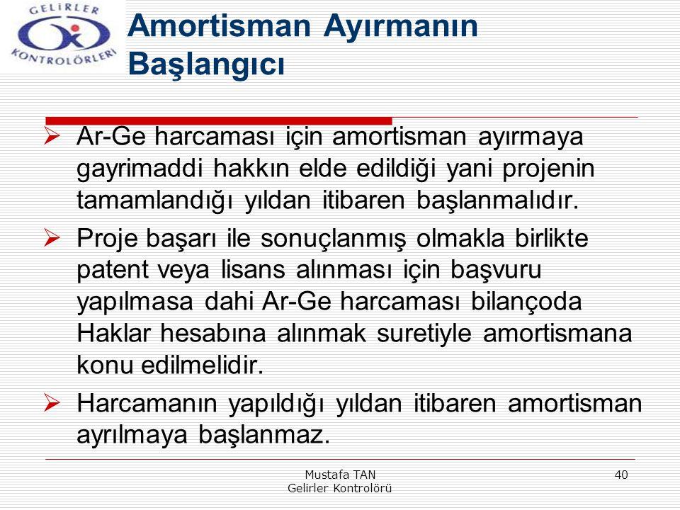 Mustafa TAN Gelirler Kontrolörü 40  Ar-Ge harcaması için amortisman ayırmaya gayrimaddi hakkın elde edildiği yani projenin tamamlandığı yıldan itibar