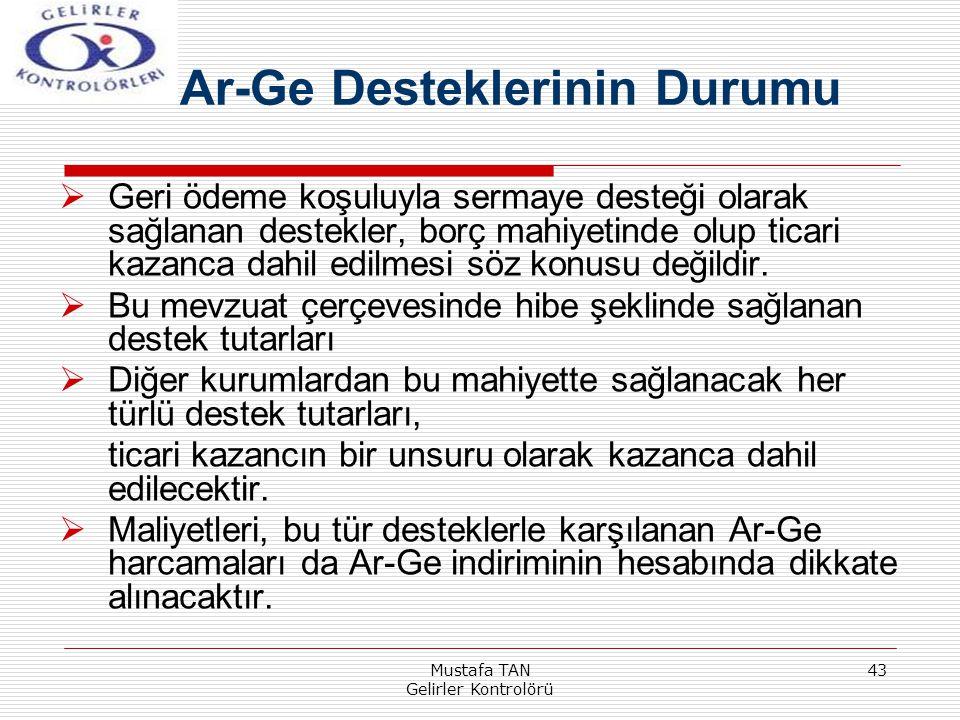 Mustafa TAN Gelirler Kontrolörü 43  Geri ödeme koşuluyla sermaye desteği olarak sağlanan destekler, borç mahiyetinde olup ticari kazanca dahil edilme