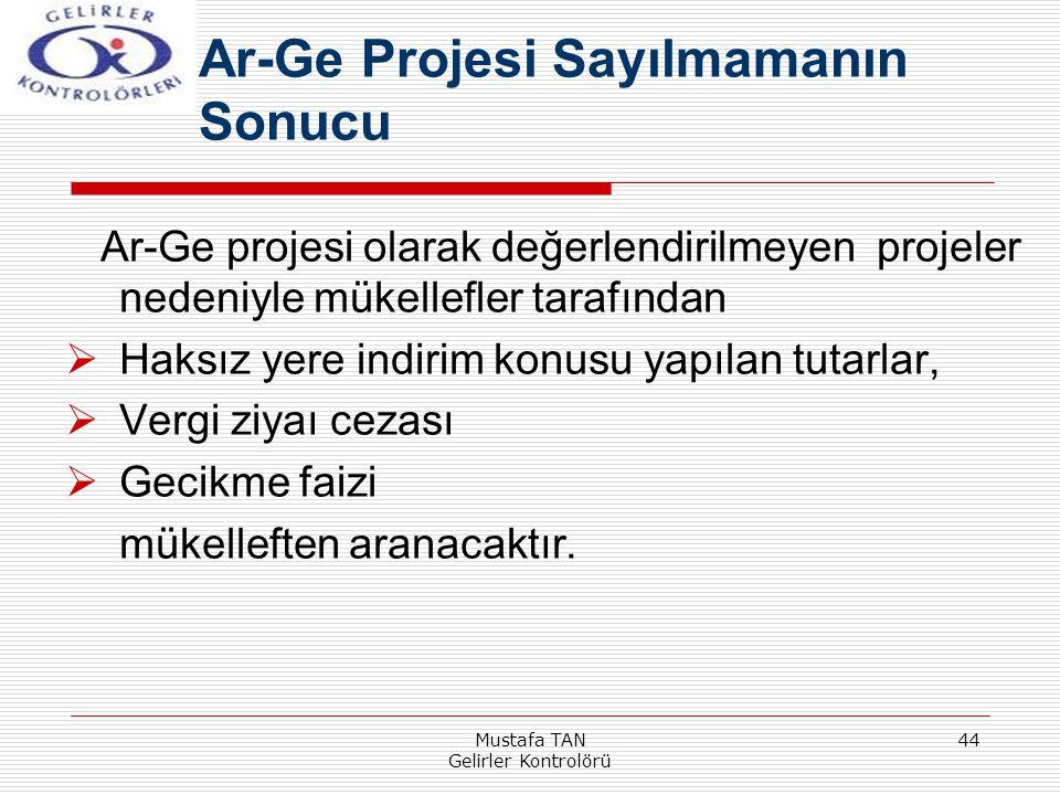 Mustafa TAN Gelirler Kontrolörü 44 Ar-Ge projesi olarak değerlendirilmeyen projeler nedeniyle mükellefler tarafından  Haksız yere indirim konusu yapı
