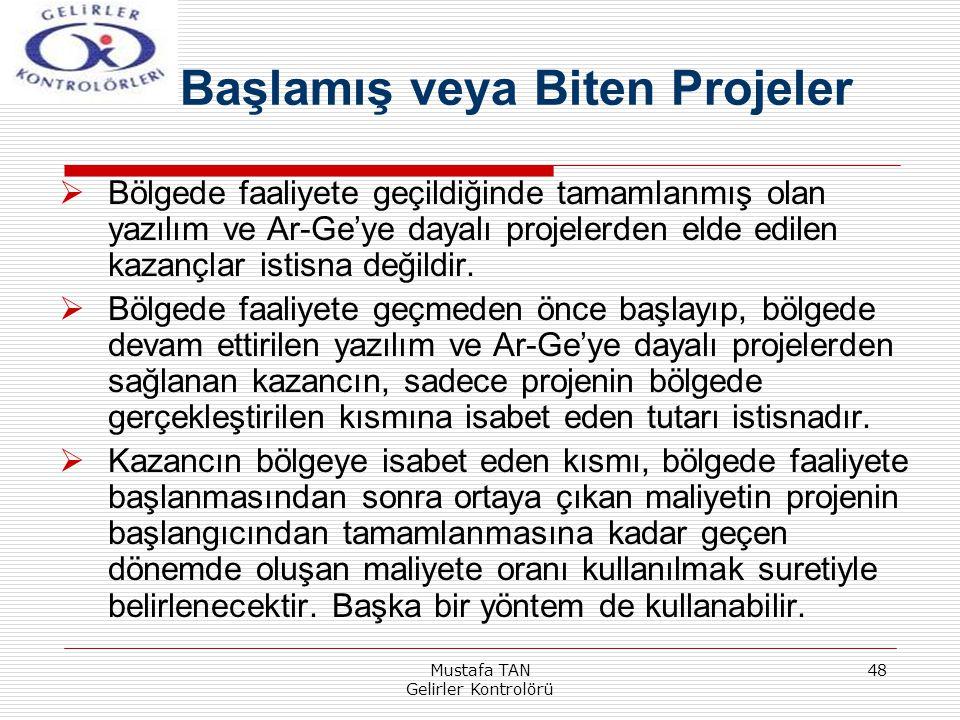 Mustafa TAN Gelirler Kontrolörü 48  Bölgede faaliyete geçildiğinde tamamlanmış olan yazılım ve Ar-Ge'ye dayalı projelerden elde edilen kazançlar isti