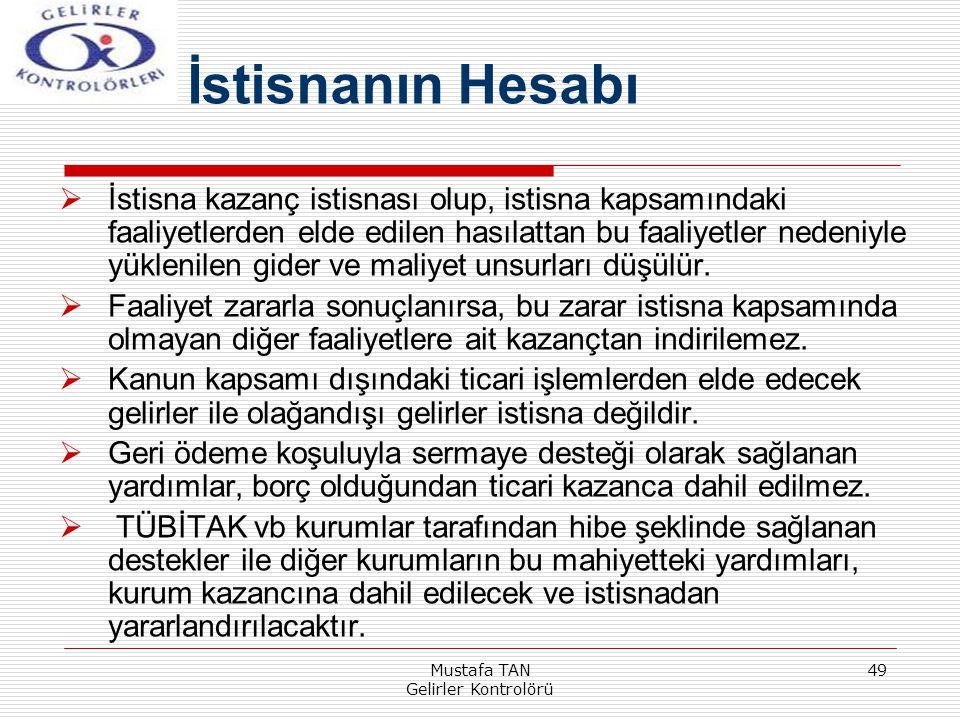 Mustafa TAN Gelirler Kontrolörü 49  İstisna kazanç istisnası olup, istisna kapsamındaki faaliyetlerden elde edilen hasılattan bu faaliyetler nedeniyl