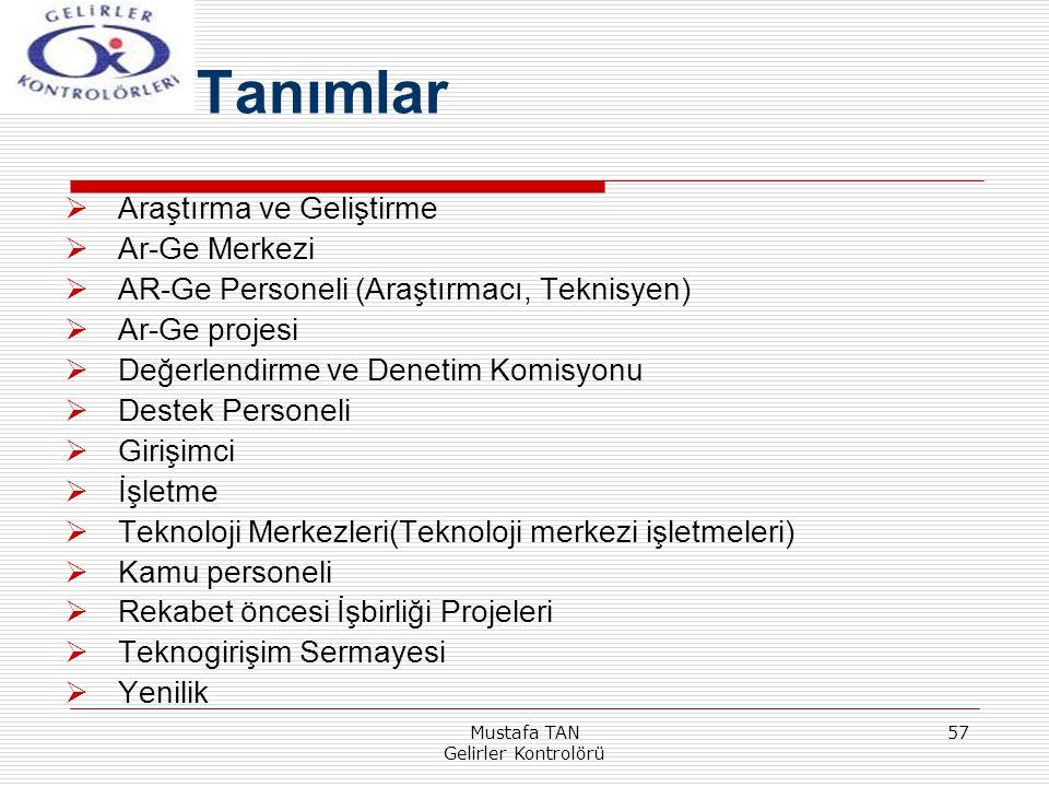 Mustafa TAN Gelirler Kontrolörü 57  Araştırma ve Geliştirme  Ar-Ge Merkezi  AR-Ge Personeli (Araştırmacı, Teknisyen)  Ar-Ge projesi  Değerlendirm