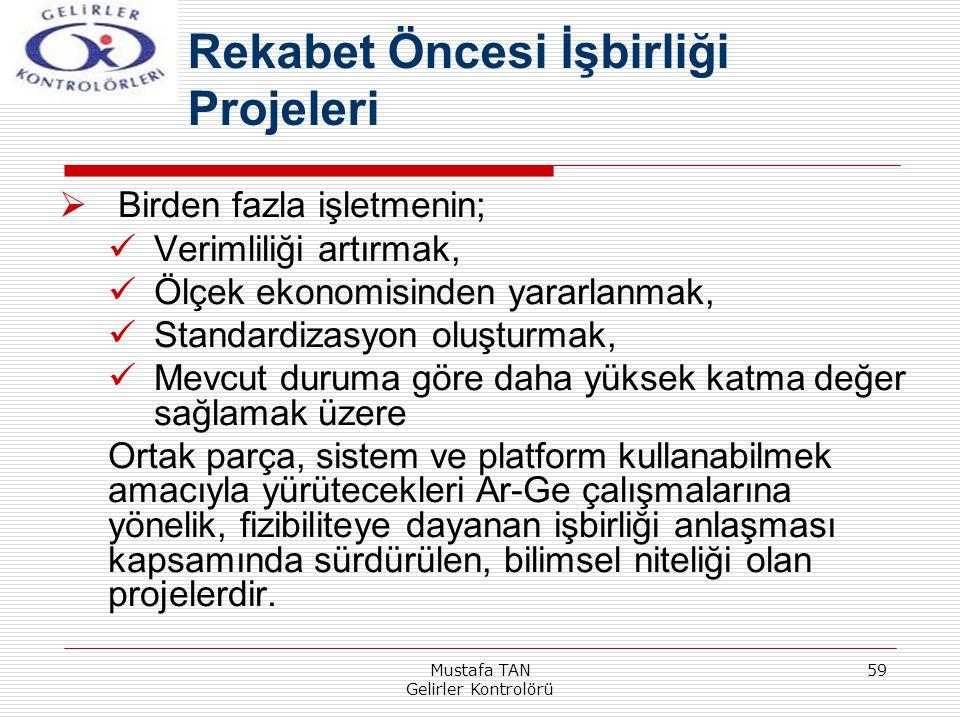 Mustafa TAN Gelirler Kontrolörü 59  Birden fazla işletmenin; Verimliliği artırmak, Ölçek ekonomisinden yararlanmak, Standardizasyon oluşturmak, Mevcu