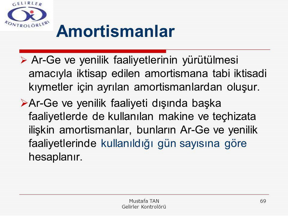 Mustafa TAN Gelirler Kontrolörü 69  Ar-Ge ve yenilik faaliyetlerinin yürütülmesi amacıyla iktisap edilen amortismana tabi iktisadi kıymetler için ayr