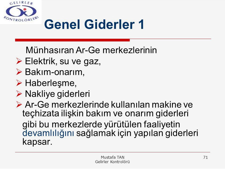 Mustafa TAN Gelirler Kontrolörü 71 Münhasıran Ar-Ge merkezlerinin  Elektrik, su ve gaz,  Bakım-onarım,  Haberleşme,  Nakliye giderleri  Ar-Ge mer