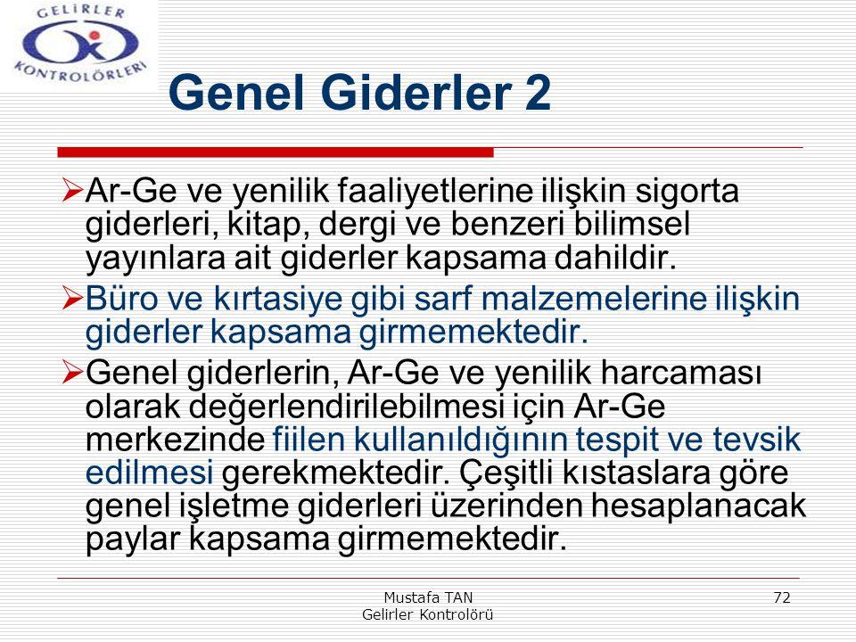 Mustafa TAN Gelirler Kontrolörü 72  Ar-Ge ve yenilik faaliyetlerine ilişkin sigorta giderleri, kitap, dergi ve benzeri bilimsel yayınlara ait giderle