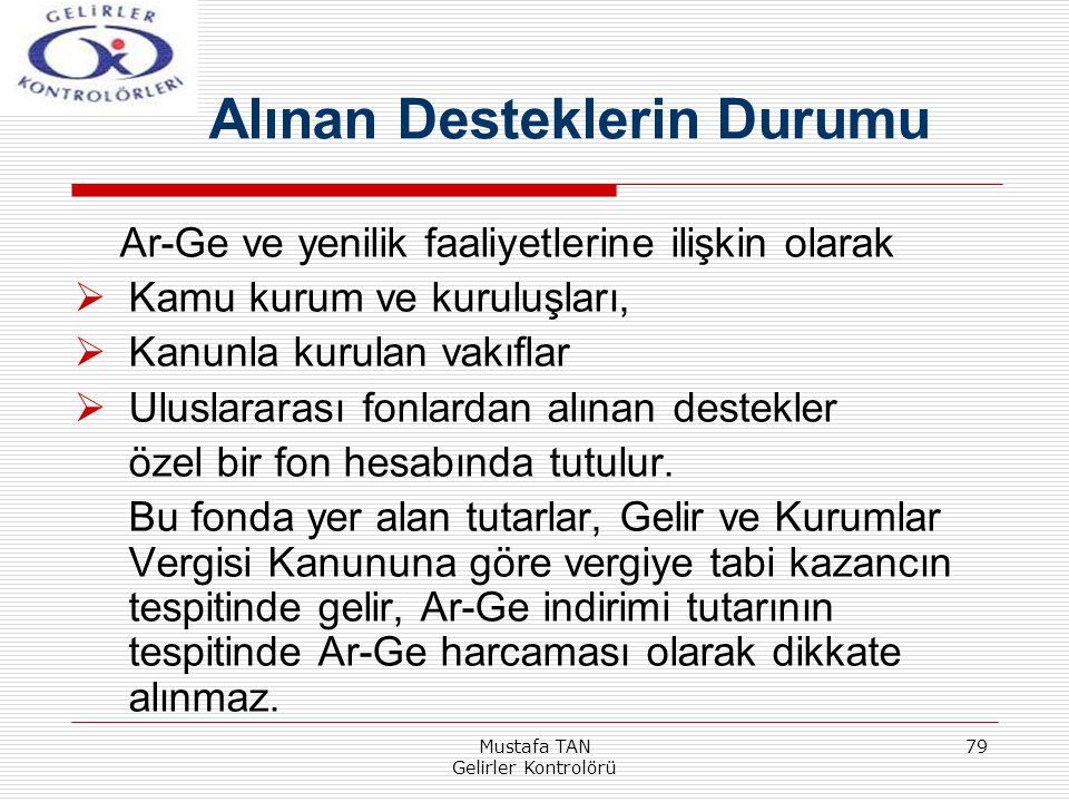 Mustafa TAN Gelirler Kontrolörü 79 Ar-Ge ve yenilik faaliyetlerine ilişkin olarak  Kamu kurum ve kuruluşları,  Kanunla kurulan vakıflar  Uluslarara