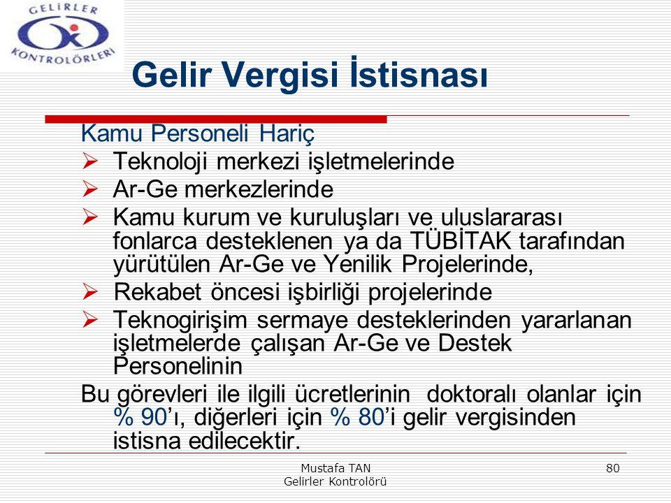 Mustafa TAN Gelirler Kontrolörü 80 Kamu Personeli Hariç  Teknoloji merkezi işletmelerinde  Ar-Ge merkezlerinde  Kamu kurum ve kuruluşları ve ulusla