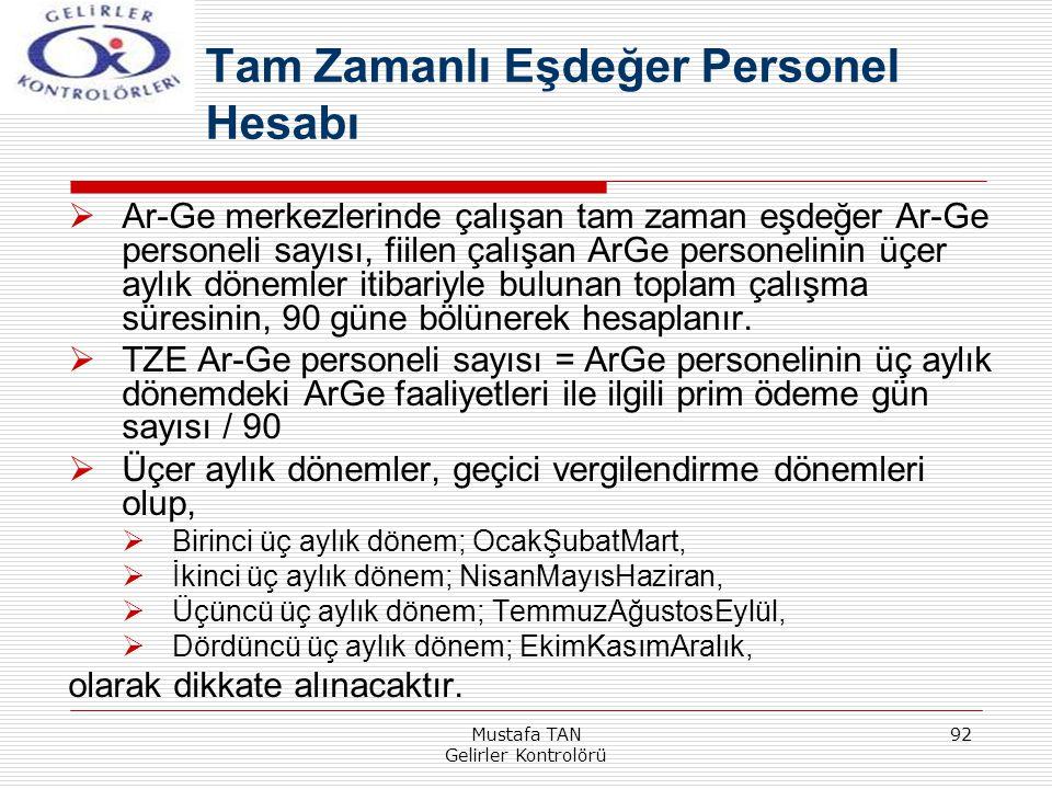 Mustafa TAN Gelirler Kontrolörü 92  Ar-Ge merkezlerinde çalışan tam zaman eşdeğer Ar-Ge personeli sayısı, fiilen çalışan ArGe personelinin üçer aylık