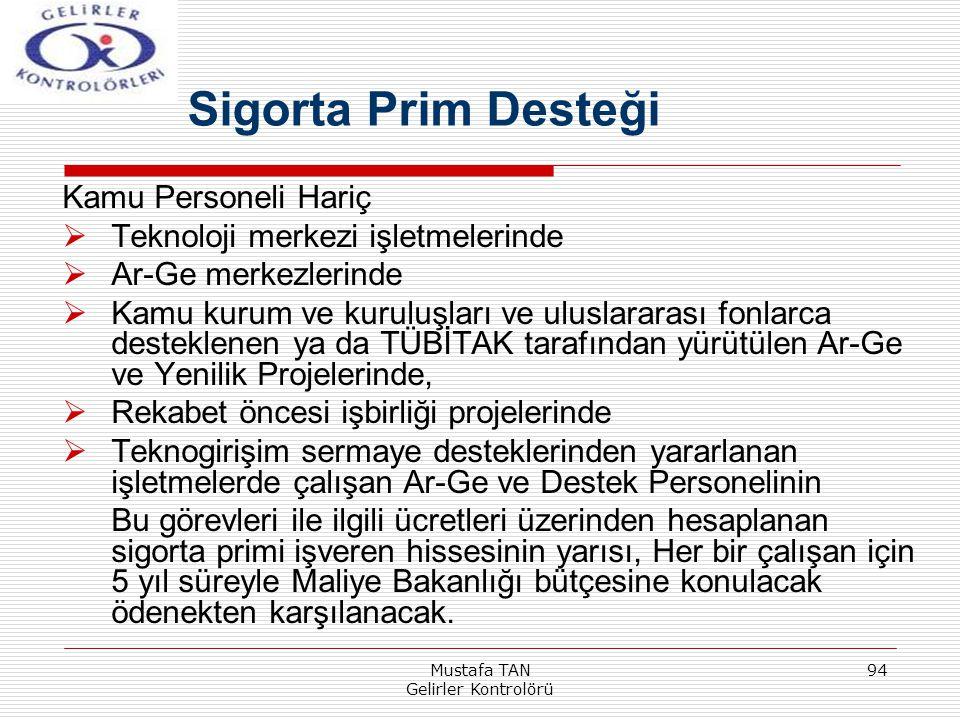 Mustafa TAN Gelirler Kontrolörü 94 Kamu Personeli Hariç  Teknoloji merkezi işletmelerinde  Ar-Ge merkezlerinde  Kamu kurum ve kuruluşları ve ulusla