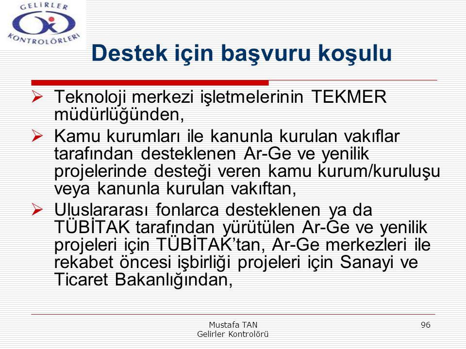 Mustafa TAN Gelirler Kontrolörü 96  Teknoloji merkezi işletmelerinin TEKMER müdürlüğünden,  Kamu kurumları ile kanunla kurulan vakıflar tarafından d