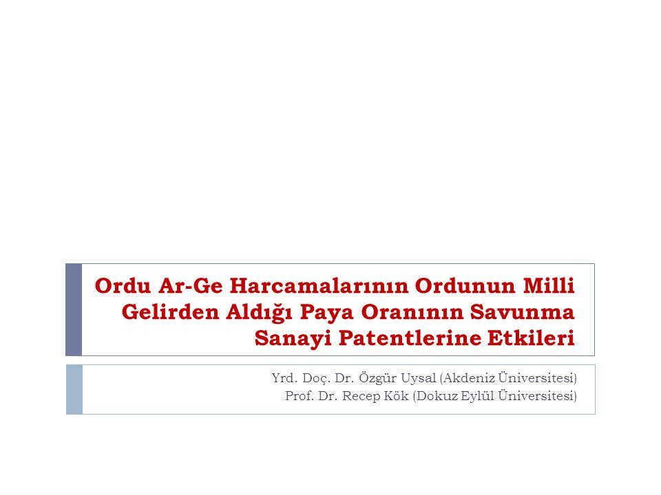 Ordu Ar-Ge Harcamalarının Ordunun Milli Gelirden Aldığı Paya Oranının Savunma Sanayi Patentlerine Etkileri Yrd. Doç. Dr. Özgür Uysal (Akdeniz Üniversi