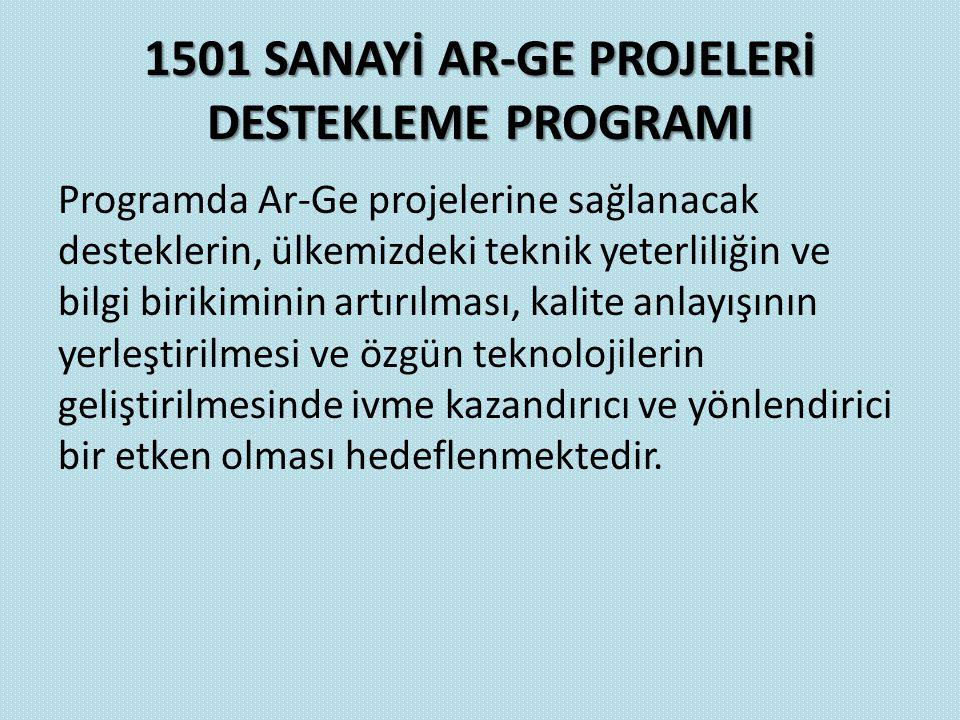 1501 SANAYİ AR-GE PROJELERİ DESTEKLEME PROGRAMI Programda Ar-Ge projelerine sağlanacak desteklerin, ülkemizdeki teknik yeterliliğin ve bilgi birikimin